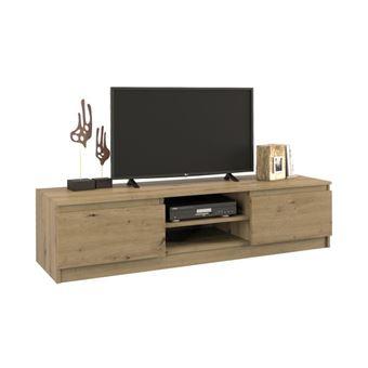 tivoli meuble bas tv contemporain 40x140x36 salon sejour 2 niches 2 portes rangement moderne materiel tele audio video gaming chene artisan