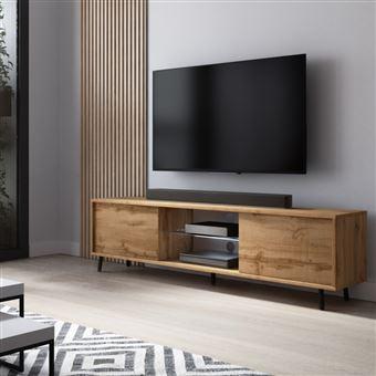meuble tv meuble de salon lefyr 140 cm chene wotan grande capacite de rangement eclairage led