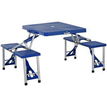 table de camping pique nique pliante portable en plastique avec 4 sieges bleu