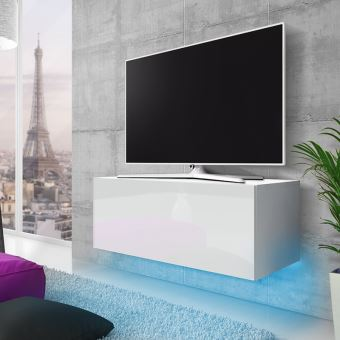 meuble tv suspendu skylara 100 cm blanc mat blanc brillant eclairage led bleu style moderne