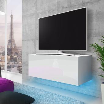 meuble tv suspendu skylara 100 cm blanc mat blanc brillant eclairage led bleu style moderne