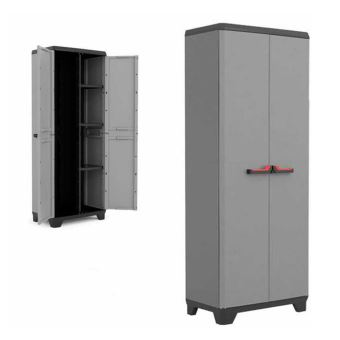 kis armoire a balais en resine gris meuble haut jardin utility stilo 9722