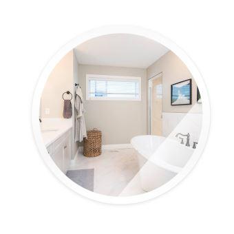 rond led miroir de mur de salle de bains avec fonction anti buee blanc froid 60 60 4 5cm