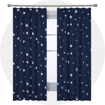 deconovo lot de 2 rideaux occultants enfant isolant thermique rideaux motif flocon de etoile argente avec galon fronceur pour chambre enfant 117x183cm