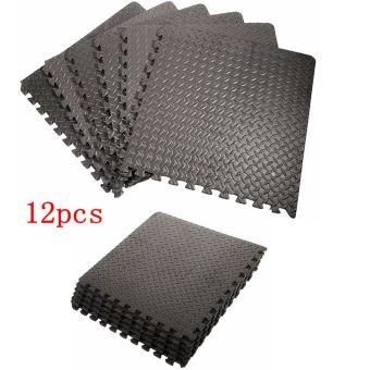 ensemble de 12 dalles carrees eva tapis de sol sport gymnastique yoga tapis puzzle antiderapant mousse noir 63 63cm