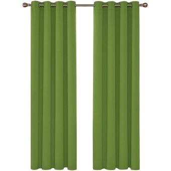 deconovo lot de 2 rideau occultant vert d herbe et decoration isolant thermique oeillets pour rideau salon moderne 140x220cm
