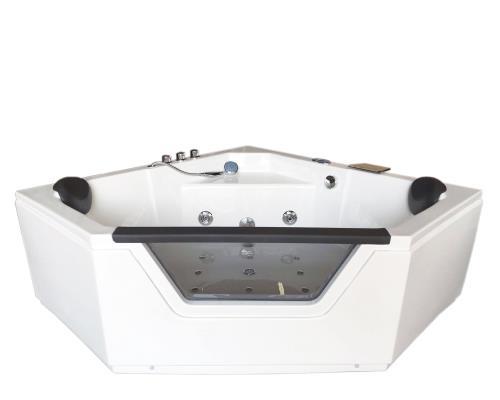 baignoire massante angle 150 x 150 cm balneo bain tourbillon modele ibiza jets dorsaux whirlpool spa cascade inclus
