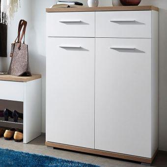 meuble a chaussures blanc chene avec 2 portes et 2 tiroirs dim 74 x 110 x 34 cm pegane