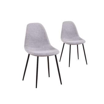 lot de 2 chaises scandinaves lisa tissu