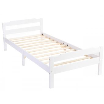 lit adulte en bois massif coloris blanc dim 90x190 cm pegane