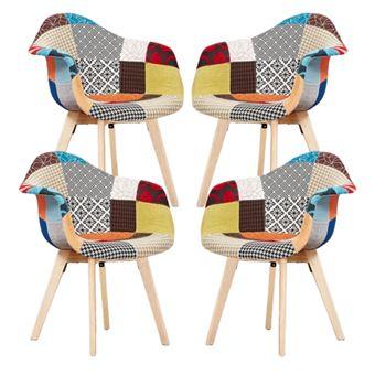 lot de 4 chaises patchwork a accoudoirs