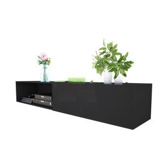 meuble tv leo 300 cm noir mat noir brillant avec led