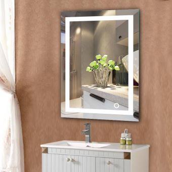 Miroir Salle Bain Avec Eclairage Integre Led 60 80cm Accessoires Salles De Bain Et Wc Achat Prix Fnac