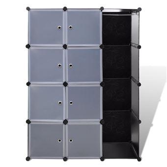 armoire penderie cube modulable etagere de rangement vetement en plastique 9 compartiments 37 x 115 x 150 cm