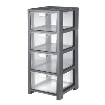 cep 2259920160 tour de rangement plastique gris et transparent 32 5 x 35 x 77 6 cm