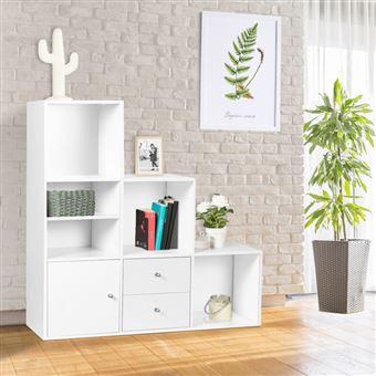 meuble de rangement escalier 3 niveaux bois blanc avec porte et tiroirs