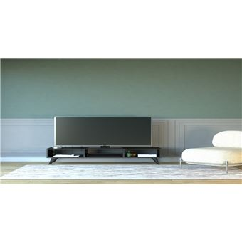 homemania meuble tv manolya moderne avec etageres pour salon noir en bois 120 x 35 x 40 cm