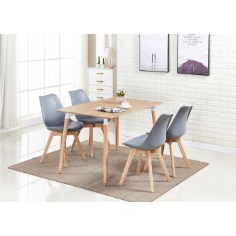 ensemble salle a manger moderne lorenzo table effet chene 4 chaises grises design scandinave