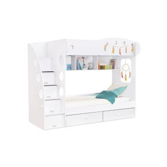 django ensemble lit combine blanc avec 2 couchages 90 x190 2 matelas