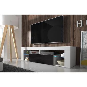 hugo meuble tv blanc mat noir brillant avec led