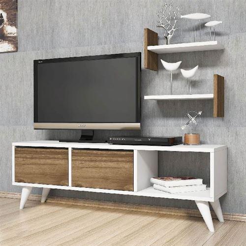 homemania meuble tv foxy moderne avec portes etageres pour salon noyer blanc en bois 120 x 30 x 40 cm