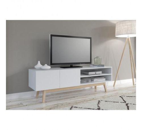 home meuble tv scandinave laque blanc pietement en bois massif l 160 cm