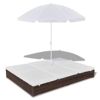vidaxl lit de bronzage pour 2 pers avec parasol resine tressee marron mobilier de jardin achat prix fnac