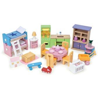 set de meubles en bois pour maison de poupees mobilier accessoires le toy van maison de poupee achat prix fnac