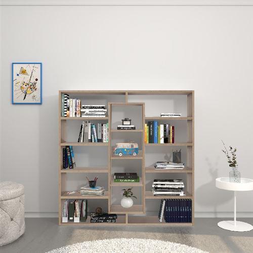 homemania bibliotheque dalia armoire murale avec etageres pour le salon le bureau l entree sonoma en bois 130 x 27 x 130 cm