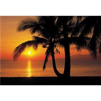 plages papier peint photo poster plage de palmiers par un coucher de soleil 8 parties 254x368 cm