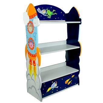 meuble bibliotheque etagere 1 tiroir rangement livre jouet enfant bois outer space
