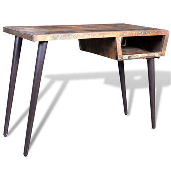 vidaxl bureau en bois recycle avec pieds acier