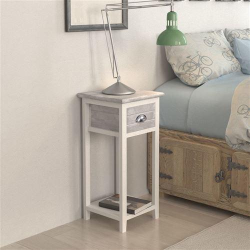 vislone table de chevet armoires de chevet avec 1 tiroir gris et blanc 30 x 30 x 63 cm
