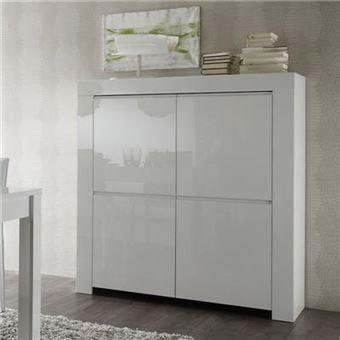 buffet haut blanc laque design tripoli l 120 x p 50 x h 140 cm