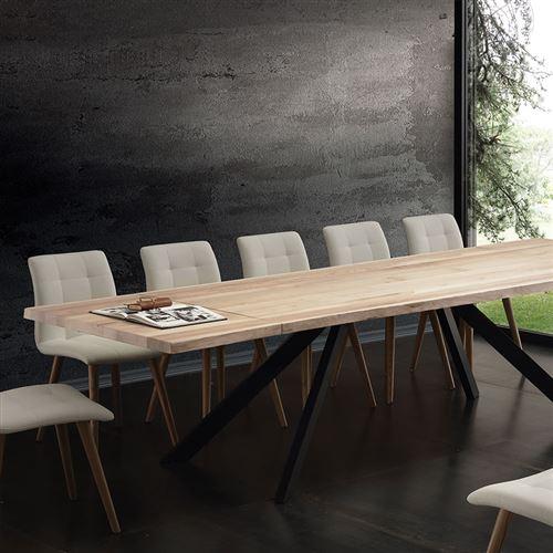 table a manger extensible bois massif ilona l 300 x p 100 x h 75 cm