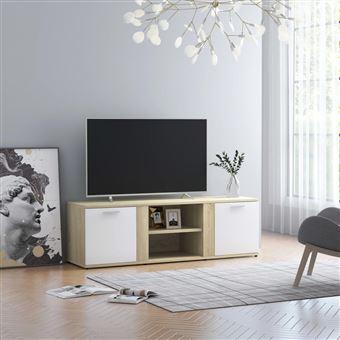 chunhe meuble tv blanc et chene sonoma 120x34x37 cm agglomere ab801166