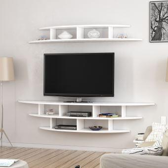 homemania meuble tv alvino moderne murale avec etageres pour salon blanc en bois 176 x 35 x 35 cm