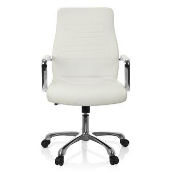 chaise de bureau fauteuil de direction tewa simili cuir blanc hjh office
