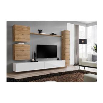 ensemble meuble salon mural switch viii meuble tv mural design coloris blanc brillant et chene wotan
