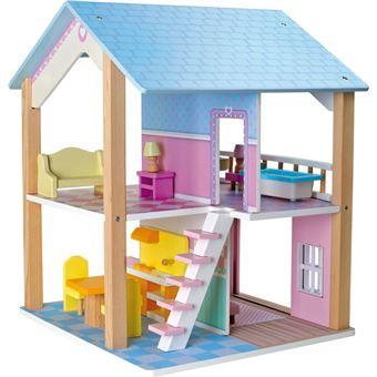 maison de poupee a 2 etages tournante toit bleu