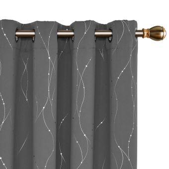 deconovo lot de 2 rideaux occultants chambre rideaux motif point argente a oeillet 117x183cm gris clair