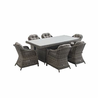 table de jardin 6 places en resine tressee arrondie lecco gris alice s garden