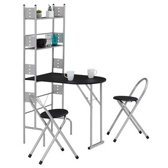 ensemble table de cuisine pliable avec etageres et 2 chaises jonathan noir