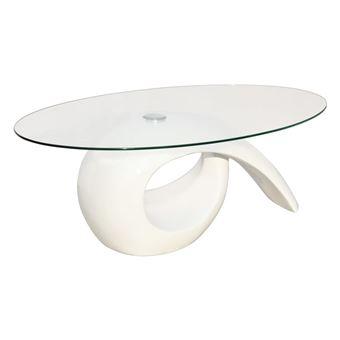 vidaxl table basse avec dessus de table en verre ovale blanc brillant