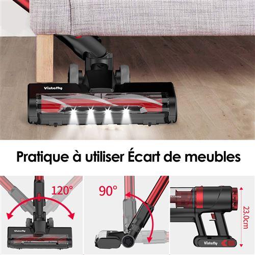 aspirateur balai sans fil vistefly vx convient pour la maison tapis de sol poils d animaux rouge 23kpa aspiration puissante sans sac