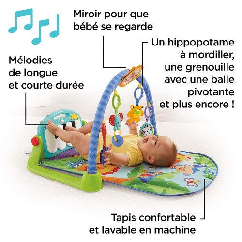 fisher price tapis musical d eveil et d activite piano pour bebe aire de jeu avec 4 modes des la naissance bleu bmh49