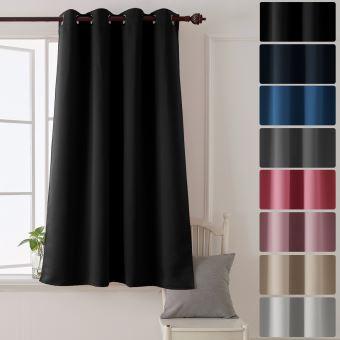 deconovo rideau a oeillet rideau isolant thermique rideau occultant opaque pour salon 132x160cm noir