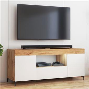 meuble tv avec led banc tv avec led gusto 137 cm lancaster blanc mat style contemporain