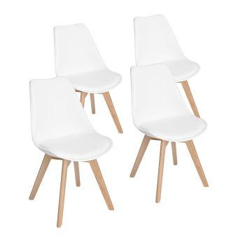 lot de 4 chaises design contemporain nordique scandinave blanc chaises de cuisine en bois