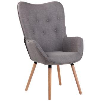 chaise lounge ashford en tissu chaise fauteuil avec accoudoirs pietement en bois de chene nature couleur gris